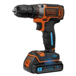 Black and Decker - 18 V LiIon Smart Tech akkuporakone 1 A laturi 2 akkua ja laukku - BDCDC18KBST
